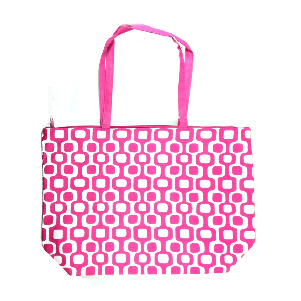 Colorful Large Beach Tote Bag with Bonus Cosmetic Bag - 21-in and 10-3/4-in (Pink & White Squares) - Mellow Monkey  - 1