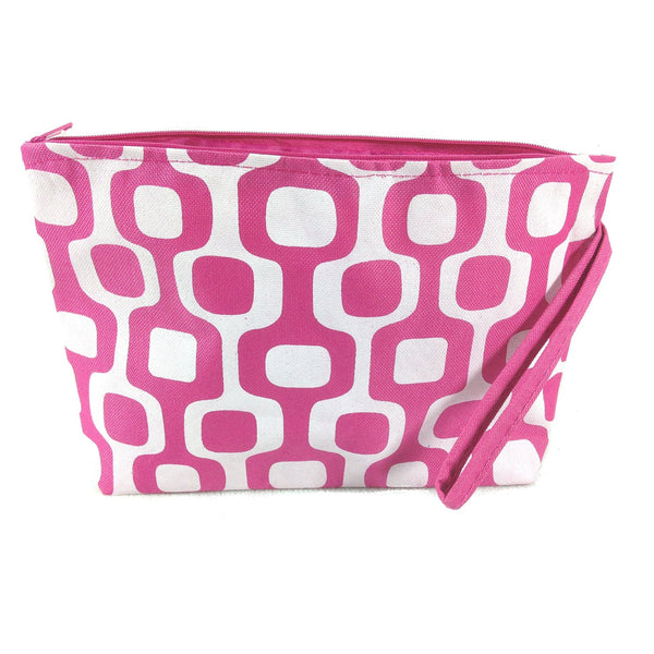 Colorful Large Beach Tote Bag with Bonus Cosmetic Bag - 21-in and 10-3/4-in (Pink & White Squares) - Mellow Monkey  - 2
