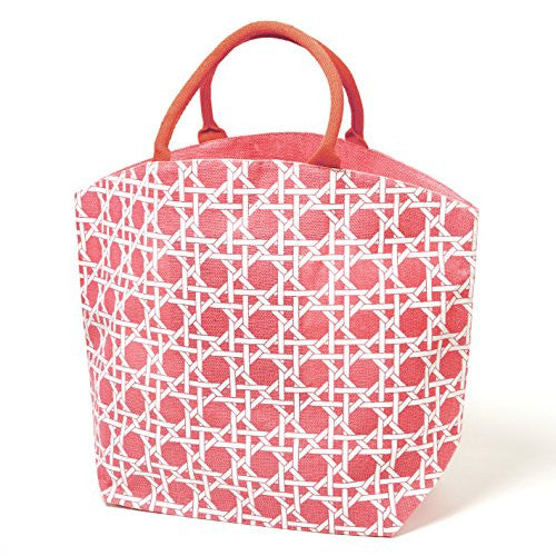 Colorful Lyford Lattice Pattern / Bamboo Style Print Jute Tote Bag (French fuchsia) - Mellow Monkey