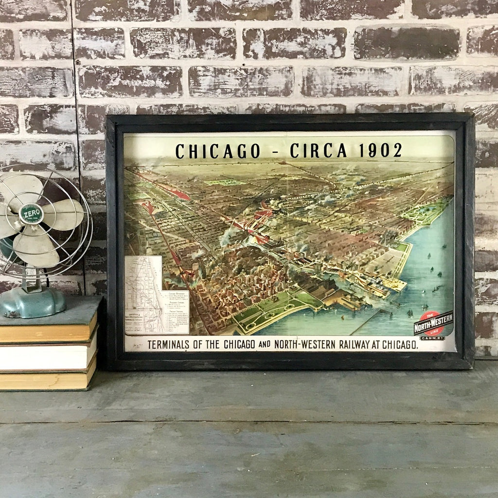 Vintage Chicago Map Circa 1902 Framed Black Shadowbox 26-in
