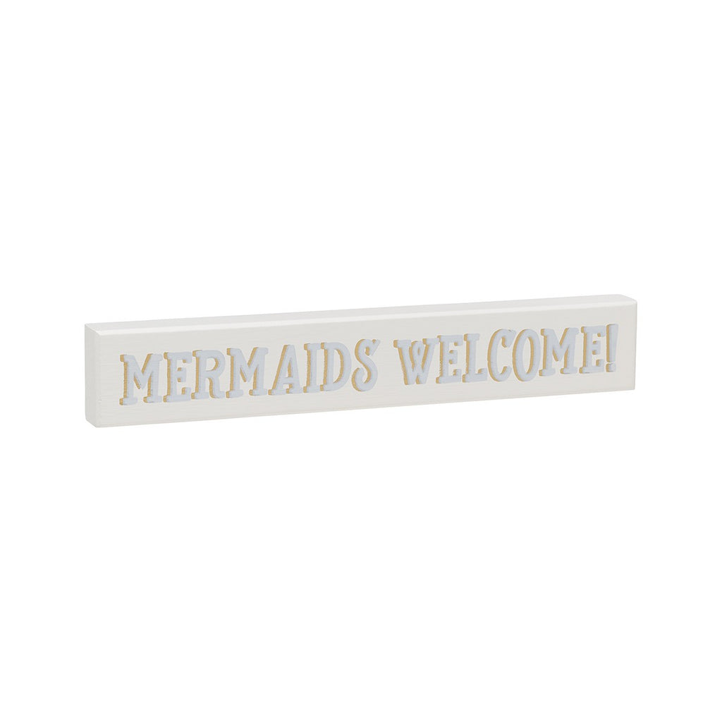 Mermaids Welcome - Coastal Mini Wood Sign - 9-in