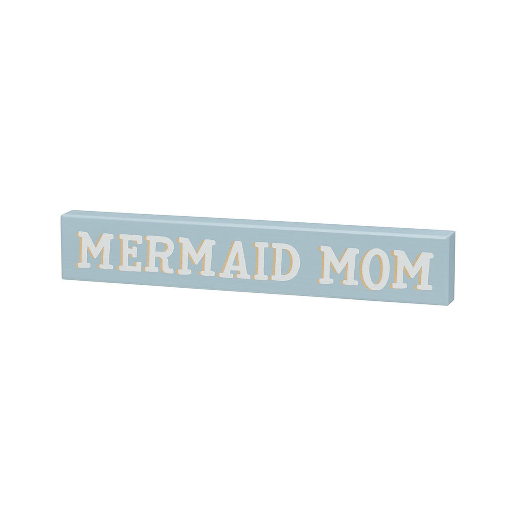 Mermaid Mom - Coastal Pastel Mini Wood Sign - 9-in