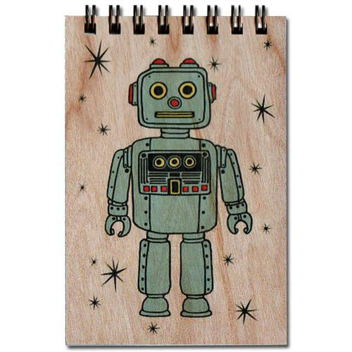 Retro Robot Booth Notepad with Wood Cover