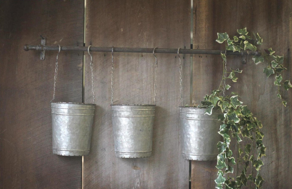 Vintage Wall Rod with Hanging Buckets 32-in