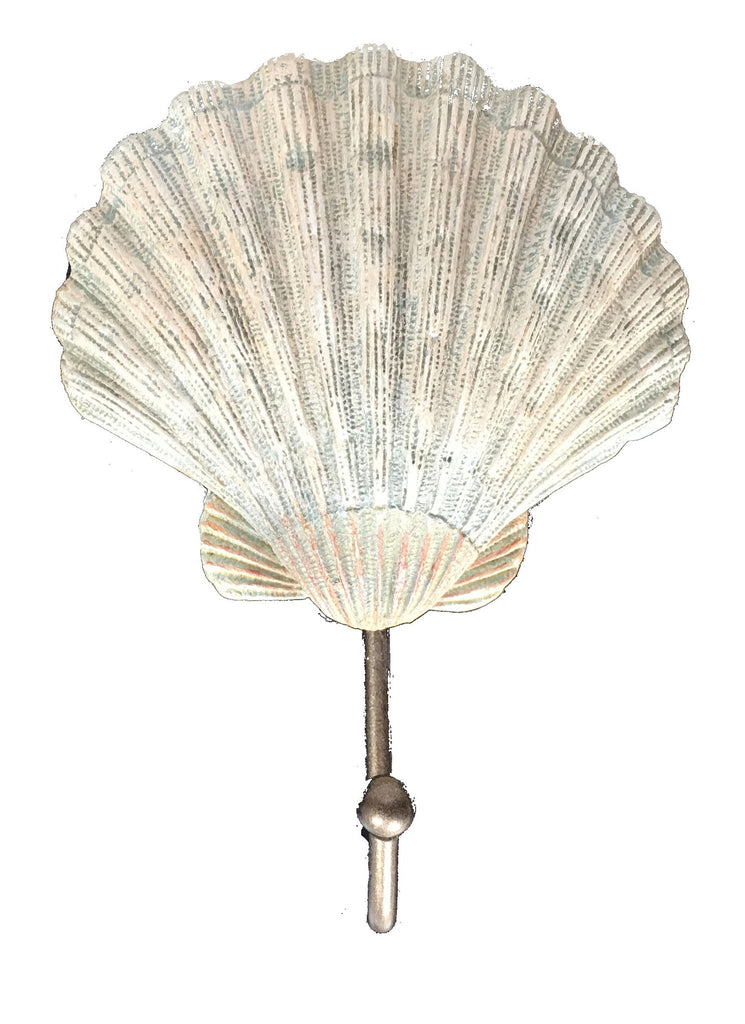 Scallop Shell Bath Wall Door Hook - Natural 5-1/2-in H