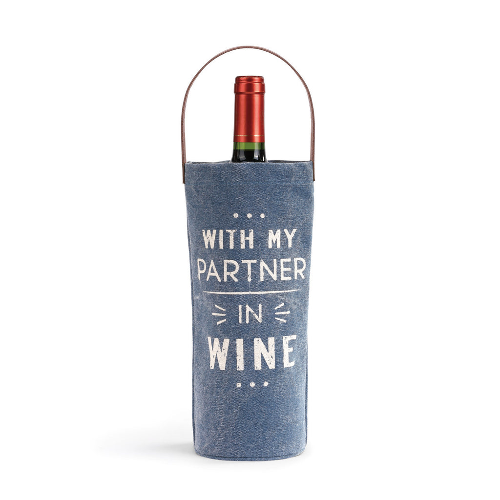 With My Partner In Wine - Wine and Spirits Fabric Bottle Bag