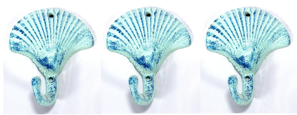 Scallop Shell Wall Hooks Cast Iron Antique Blue - Set of 3 for Coats, Aprons, Hats, Towels, Pot Holders, More - Mellow Monkey  - 1