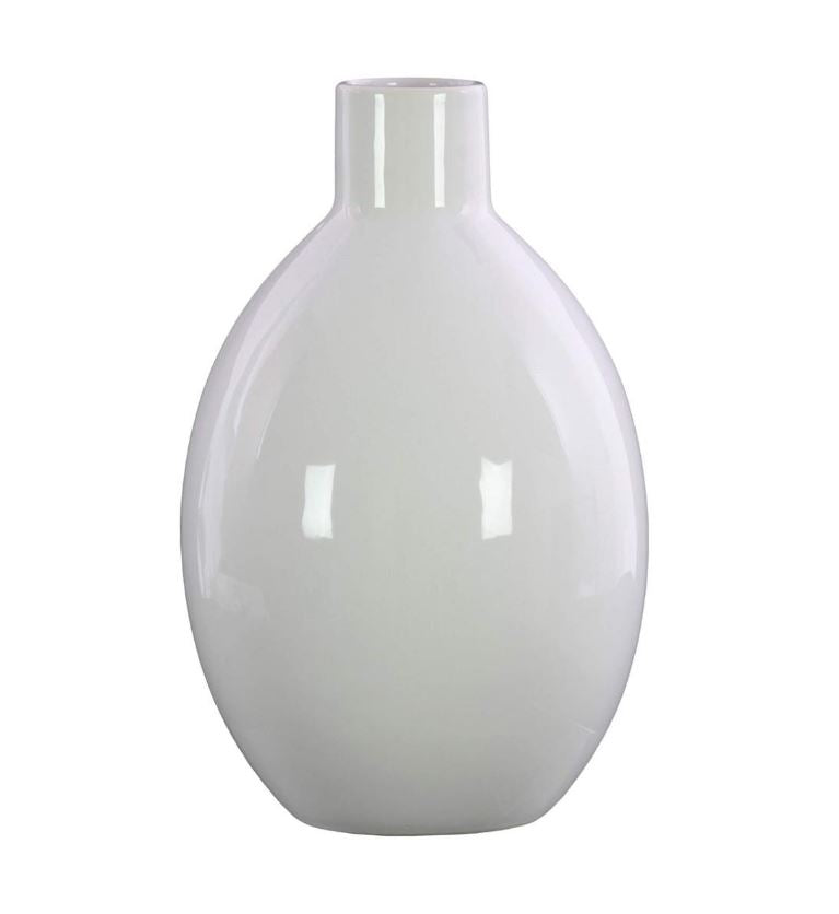 White Gloss Round Bellied Short Neck and Tapered Bottom Vase - 9-3/4-in