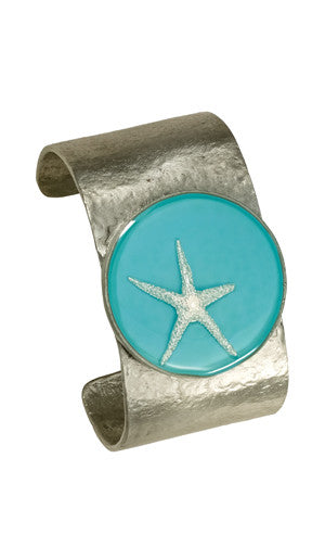 Shari Dixon Silver Starfish on Turquoise Round Bezel Cuff Bracelet - Medium - Mellow Monkey