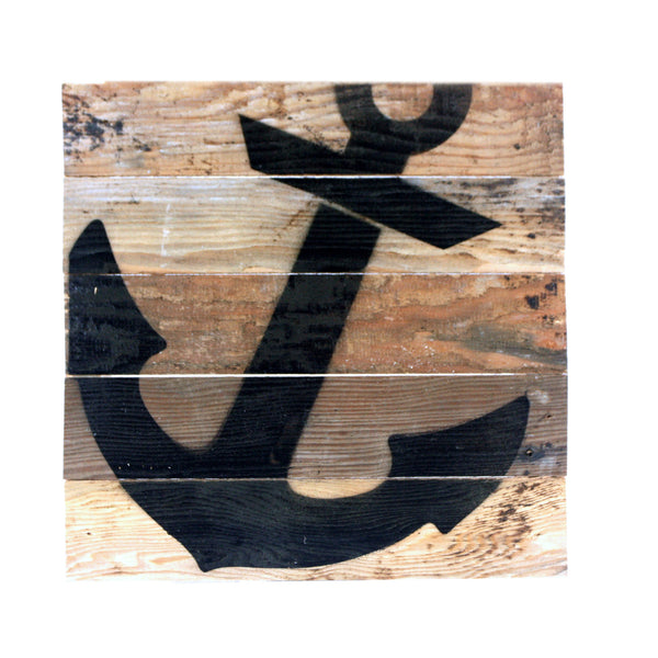 Anchor - Reclaimed Repurposed Nautical Art Sign 10-in - Mellow Monkey