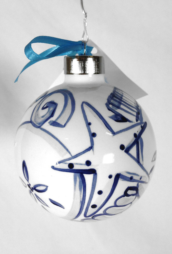 SHARD Pottery of Maine - Hand Painted Ceramic Ornament by J. Victoria Rattigan Designs (Seashell) - Mellow Monkey  - 1