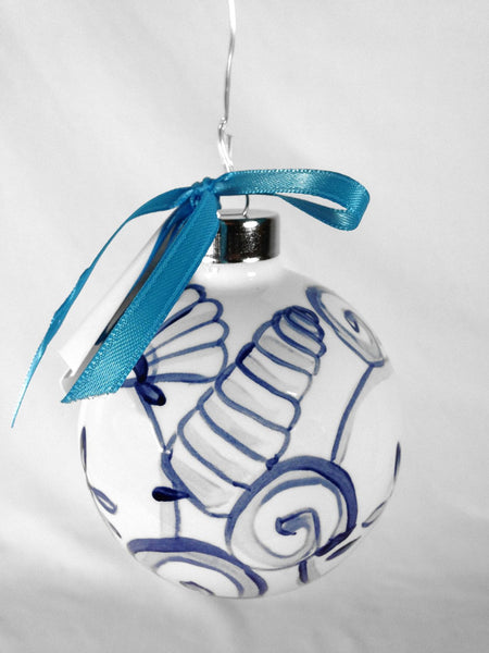 SHARD Pottery of Maine - Hand Painted Ceramic Ornament by J. Victoria Rattigan Designs (Seashell) - Mellow Monkey  - 2