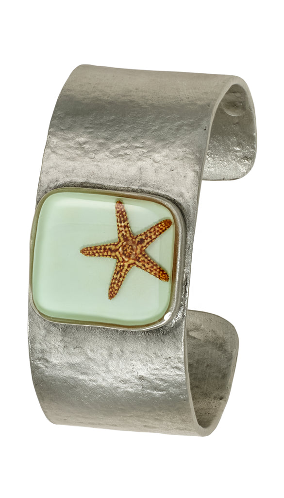 Shari Dixon Starfish on Aqua Square Pendant Cuff Bracelet - Medium - Mellow Monkey