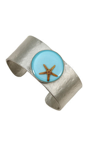 Shari Dixon Starfish on Turquoise Round Cuff Bracelet - Medium - Mellow Monkey