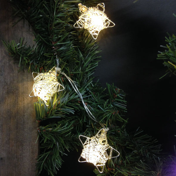Silver Metal Wire Stars with Clear LED Lights - 5-ft Lighted String Set (Battery Operated) - Mellow Monkey  - 4