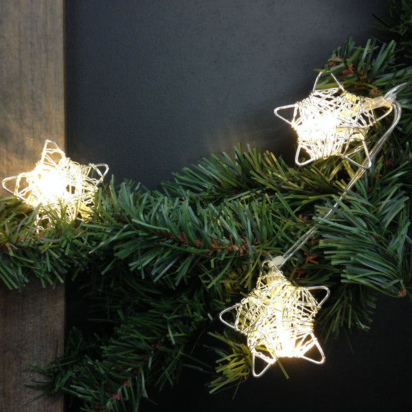Silver Metal Wire Stars with Clear LED Lights - 5-ft Lighted String Set (Battery Operated) - Mellow Monkey  - 2