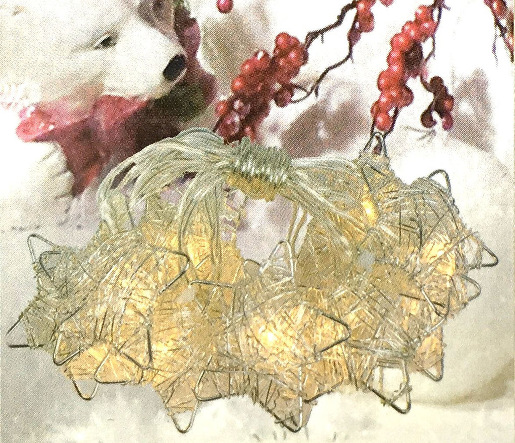 Silver Metal Wire Stars with Clear LED Lights - 5-ft Lighted String Set (Battery Operated) - Mellow Monkey  - 1