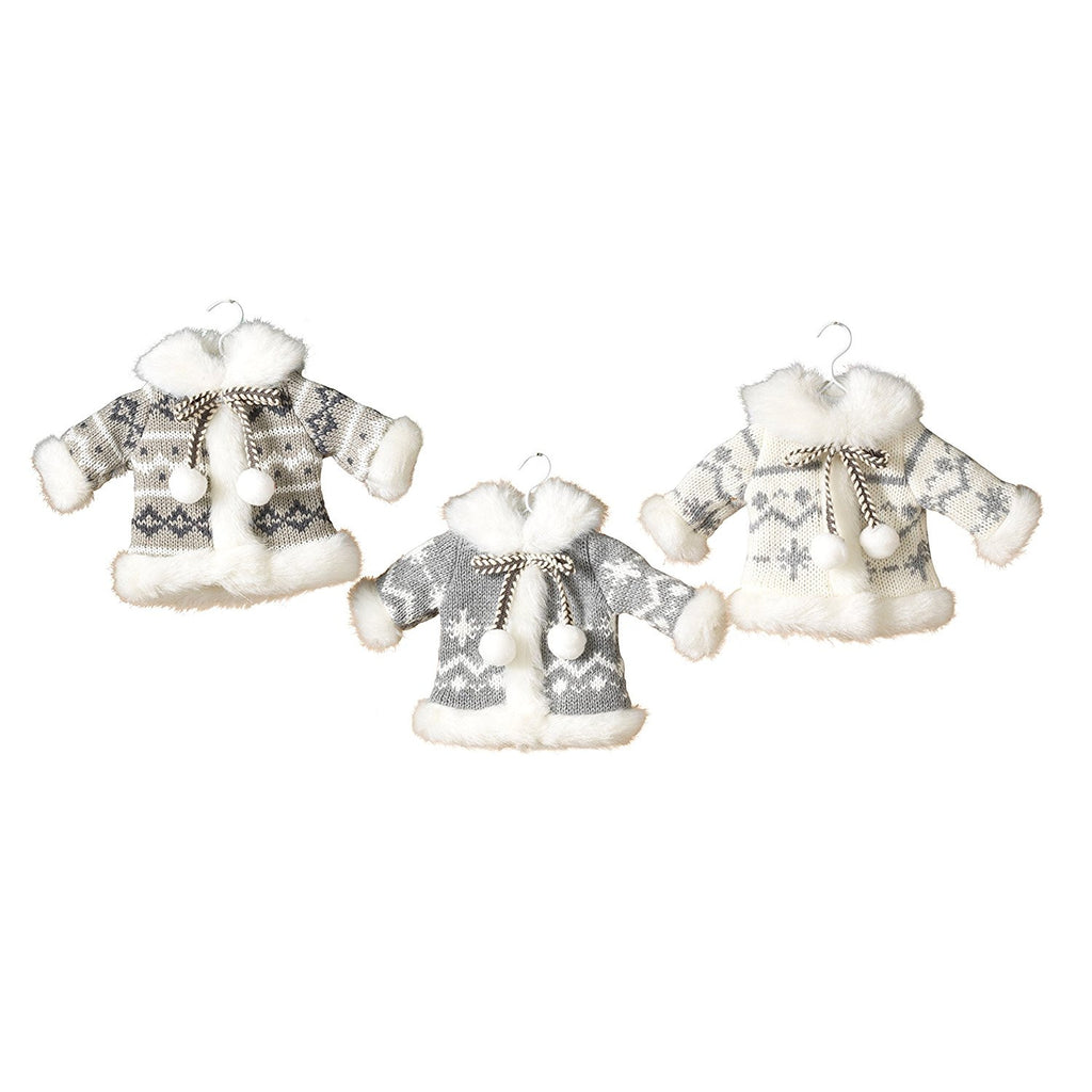 Set of 3 Knit Fabric Sweater Coat Ornaments - Grey and White 8-in - Mellow Monkey  - 1
