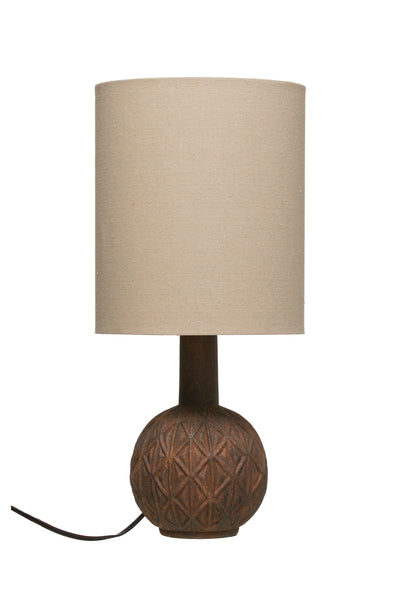 Embossed Terracotta Table Lamp with Linen Shade