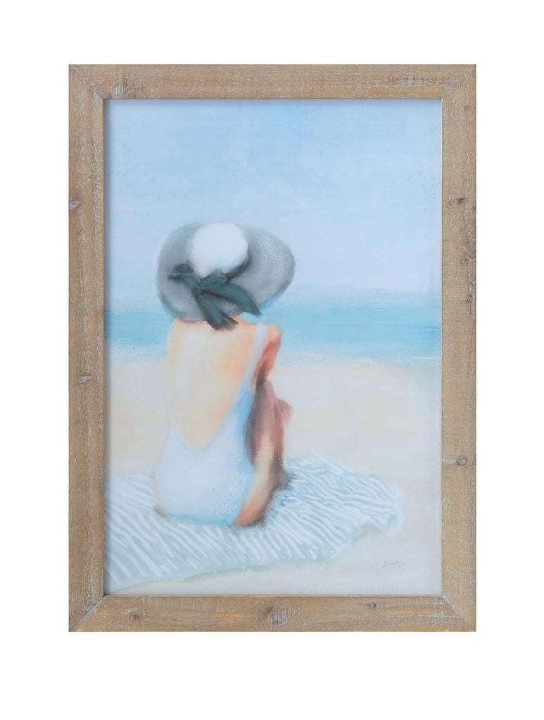 Beach Girl with Hat Wood Framed Wall Décor