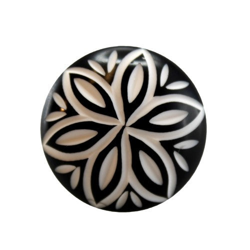 Black and White Modern Floral Cut Drawer Dresser Cupboard Pull Knob - 1.375-in - Mellow Monkey