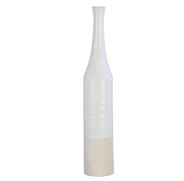 Ceramic Bottle Vase with Narrow Mouth and Long Neck - 27-1/2-in