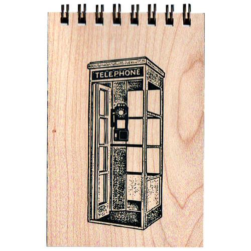 Telephone Booth Notepad with Wood Cover