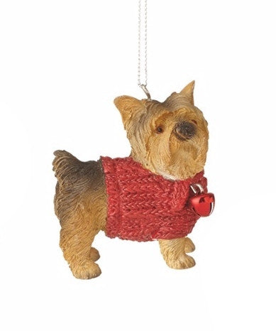 Lap Dog in Red Sweater Holiday Christmas Ornament - Mellow Monkey  - 3