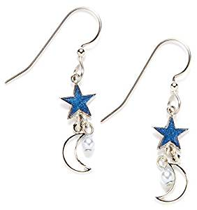 Silver Forest of Vermont Blue Enamel Stars Silver Moon Dangle Earrings