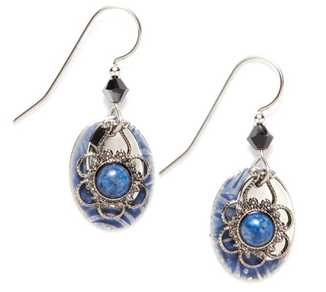 Silver Forest Denim & Lapis Drop Earrings