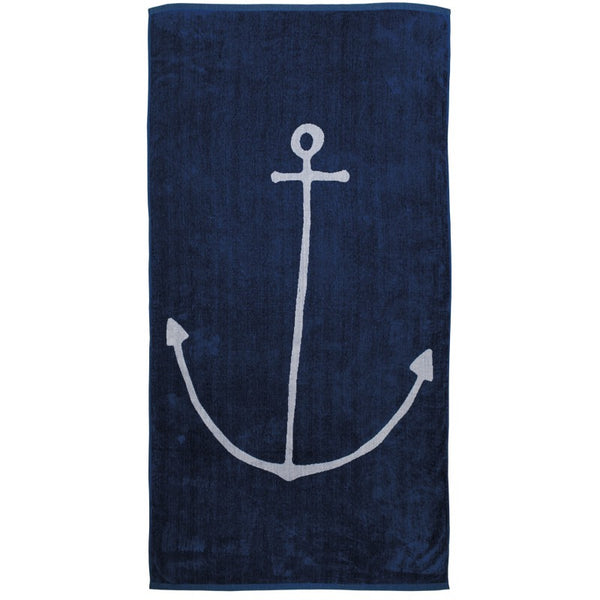 Anchor  - Oversized Thick, Luxurious Cotton Beach Towel - 70-in