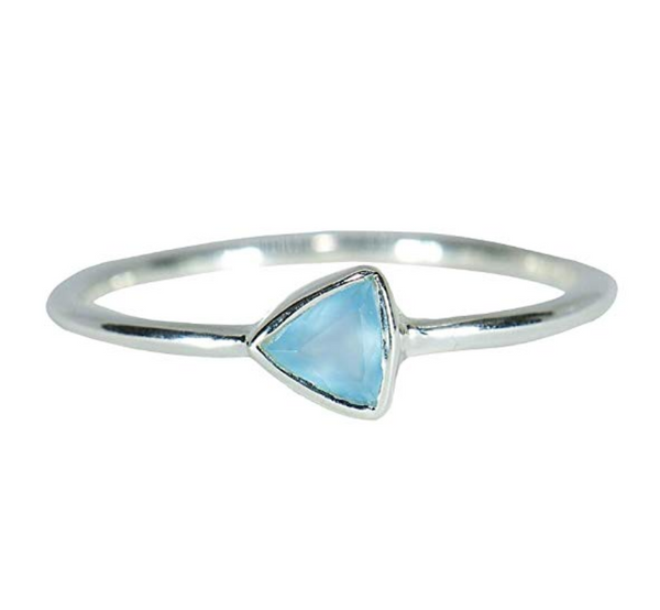 Pura Vida Silver Triangle Chalcedony Ring - .925 Sterling Silver Ring