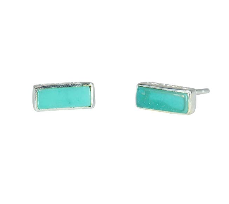 Pura Vida Sterling Silver Turquoise Bar Earrings
