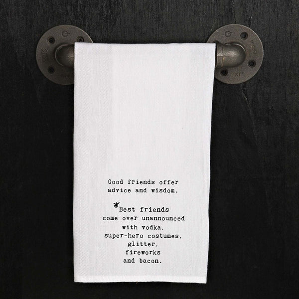 Flour Sack Quote Dish Kitchen Towel (Good Friends Offer Advice and Wisdom...)