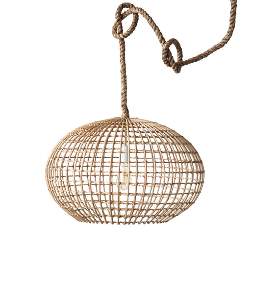 Round Wicker Pendant Light with Thick Rope Cord