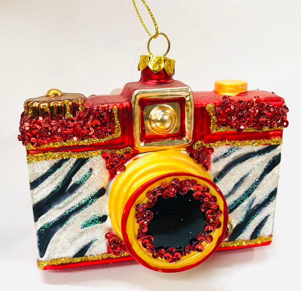 Red Zebra Retro Camera Ornament - 4""