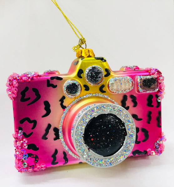 Pink Leopard Retro Camera Ornament - 4""