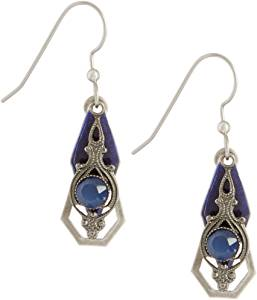 Silver Forest Of Vermont Diamond with Blue Cats Eye Earring