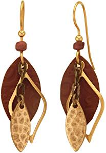 Silver Forest Brown and Gold Tone Football Shapes Open Curved Diamond  Layered  Drop Style Earrings