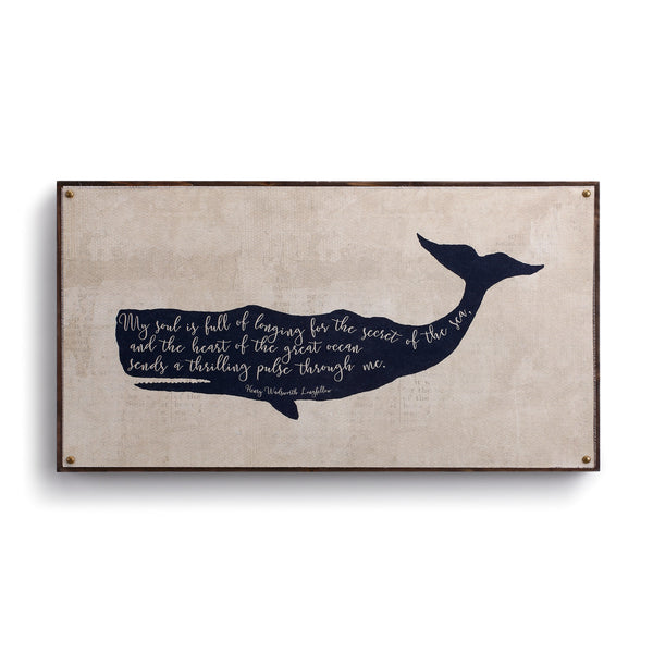 "Beyond the Shore - Whale Canvas Wall Art - 12"" H x 22"" W"