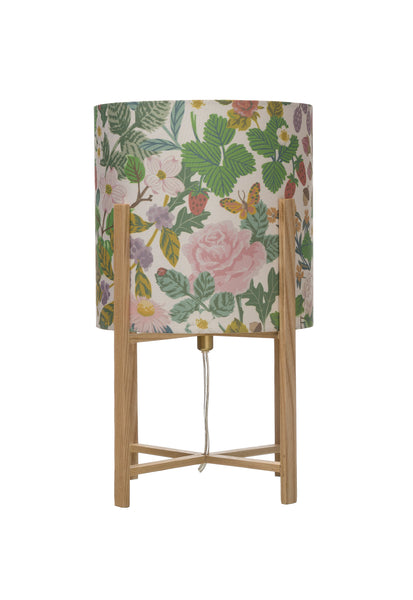 Wood Table Lamp with Floral Fabric Shade