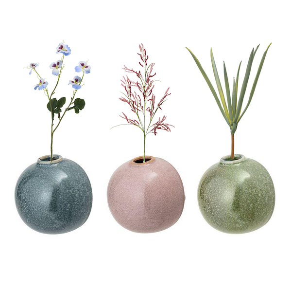 Stoneware Wall Vase with Reactive Glaze - 3-1/2-in