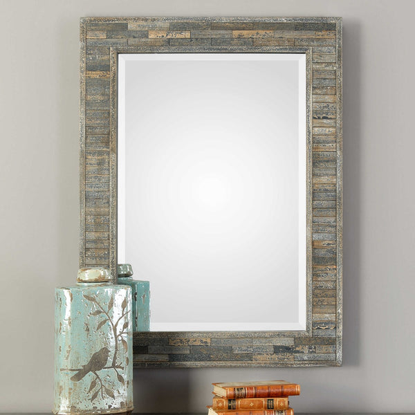 Weathered and Distressed Pine Wall Mirror - 37-in