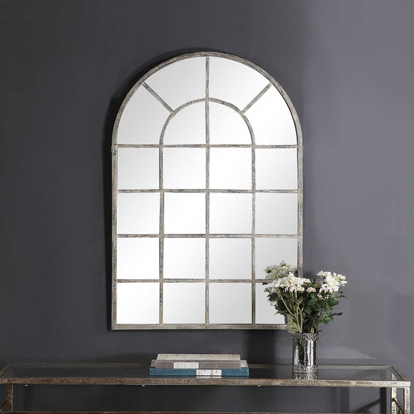 Antique Rustic Gray Arched Metal Windowpane Mirror - 44-in