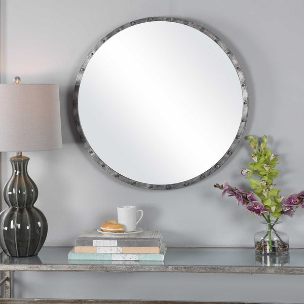 Industrial Burnished Silver Round Wall Mirror - 28-in
