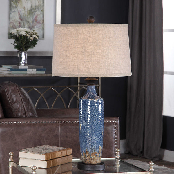 Blue Textured Ceramic Glazed Table Lamp - 30-in