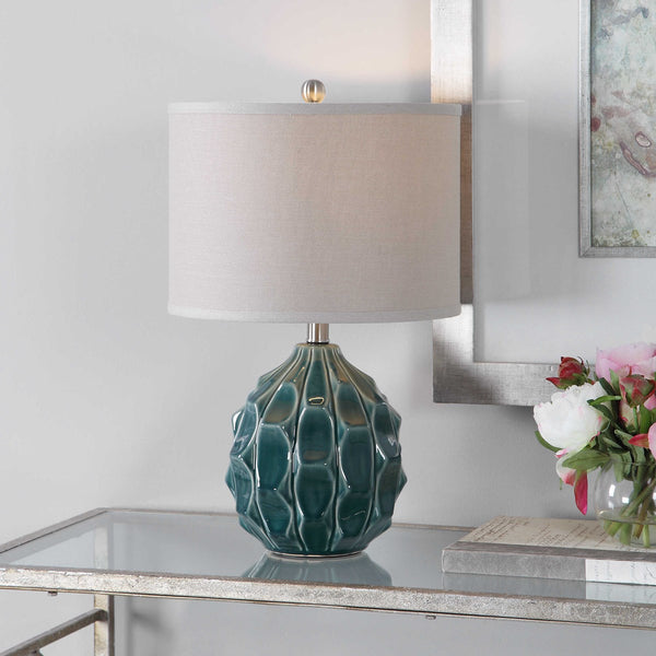 Scalloped Light Olive Gray Ceramic Table Lamp - 21-in