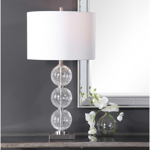 Crackled Glass Sphere Table Lamp - 29-in