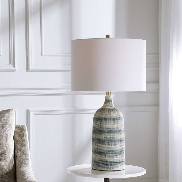 Textured Ceramic Asymmetrical Stripe Table Lamp - 27-in