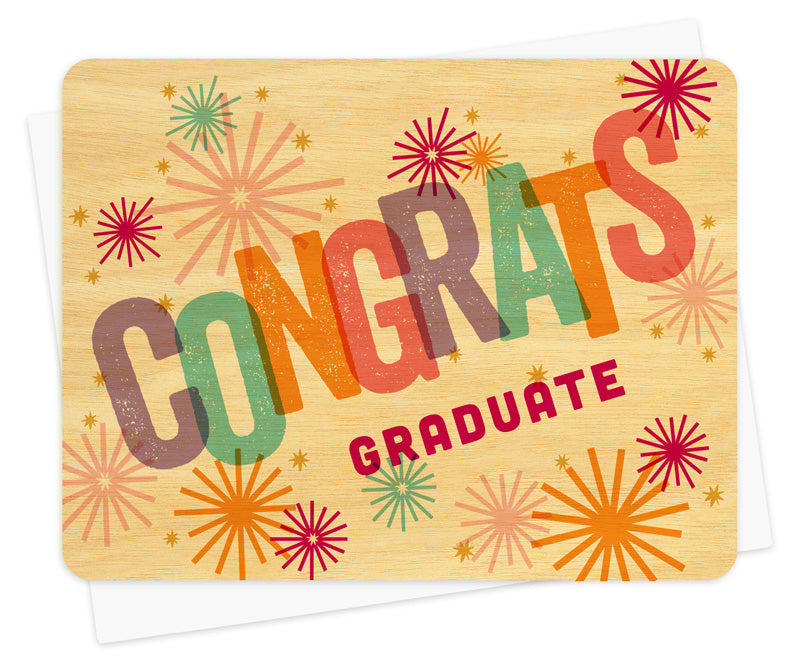 Sparkle Congrats Graduate Real Wood Greeting Card